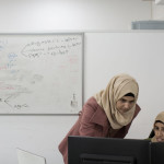 Rifaa Azbara, left, and Ms. Hawashleh at the offices of Sadel Tech, which offers expertise in Internet and mobile technologies. Uriel Sinai for the New York Times